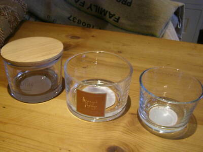 3 x large chunky clear glass candle jars for candle making -round and low