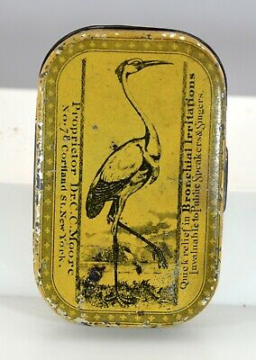 Early Quack Medicine Tin, Moore's Throat & Lung Lozenges, Flat Pocket Style Tin