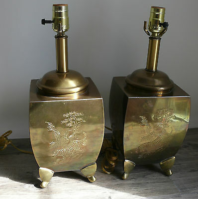 Two Brass Table Lamps Asian Etched Animals Tiger Motif Hollywood Regency Rewired