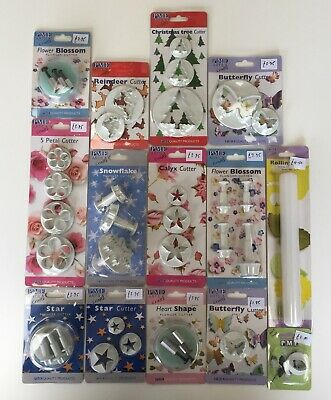 14 different PME cake decorating icing cutters, unused.