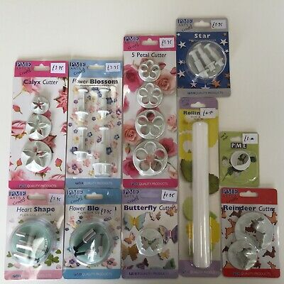 10 different PME cake decorating icing cutters, unused.