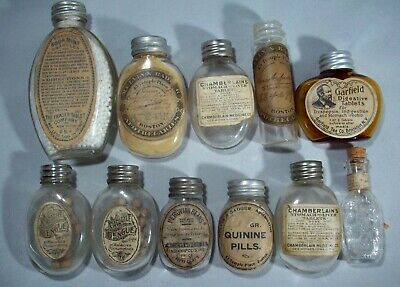 Lot of Eleven (11) Labeled Quack Cure Bottles, Unusual Shapes, Nice Group