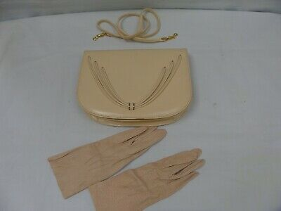 1950's Vintage Eros Real Leather Shoulder Bag / Clutch  with Matching Gloves