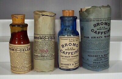 Pair of Early Labeled Medicine Bottles, Bromo Celery & Bromo Caffeine