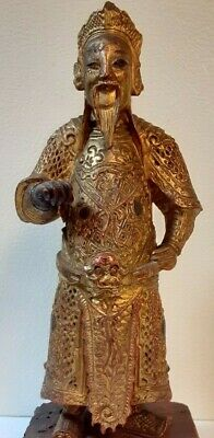 Antique Chinese Ming/Earlier? Dynasty Gilt Red Lacquered Carved Wood Figurine
