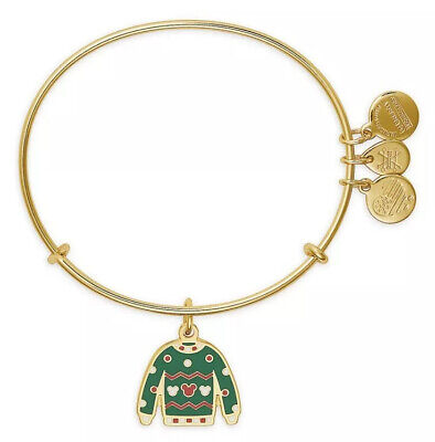Disney Parks Alex And Ani Mickey Mouse Ugly Christmas Sweater Gold Bracelet