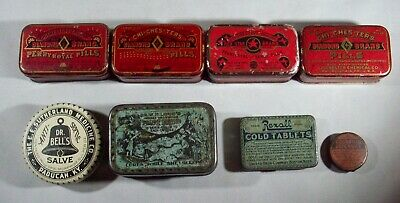 Lot of Eight Different Quack Cure Tins, Pills For Women, Long's Prairie Blossom