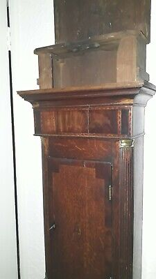 Grandfather Clock Case Only Antique Mahogany & Oak With Brass Insets