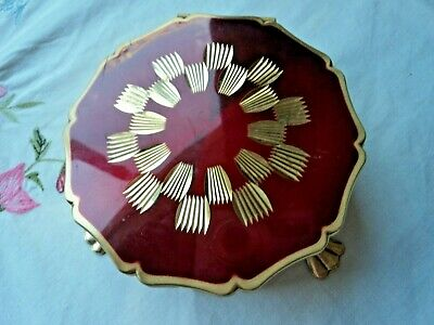 Vintage STRATTON trinket box - ruby red with gold pattern