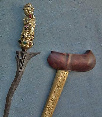 Antique Indonesian Dagger Sword Keris Kris Gold Gilt Balinese Courtly Bayu Hilt