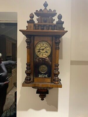 Antique wall Chiming  clock with pendulum & key