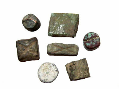 LOT OF 7 pcs. ROMAN AND BYZANTINE COIN WEIGHTS, AS FOUND+++