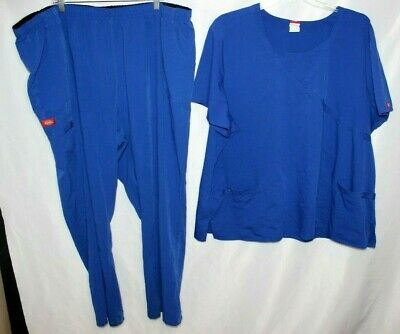 Dickies Extreme Stretch Womens Plus 5x Cargo Blue Scrub Pants & Scrub Top Set