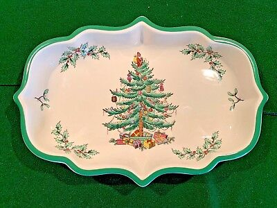 """Vintage SPODE Christmas Tree 9"""" Serving Tray Candy Dish - ENGLAND"""