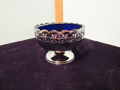Vintage Celtic Quality Plate England Cobalt and Silver Colored Compote/Jam Dish