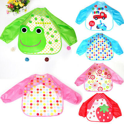 Cute Baby Toddler Kids Waterproof Long Sleeve Bibs Apron Cartoon Feeding Smock