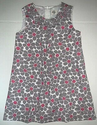 Mini Boden Girls Size 7-8 Gray and Pink Flower Dress