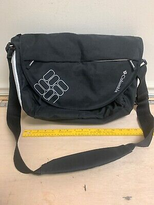 Columbia Messenger Bag , Baby Diaper Bag, Changing Pad Black With White EUC