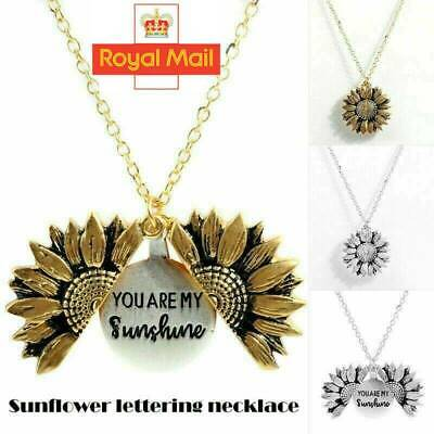 """You Are My Sunshine ""Open Locket Sunflower Pendant Necklace Women Fashion"