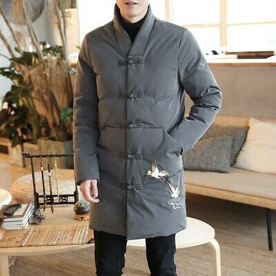 Winter Men's Chinese style Cotton Padded Casual Jacket Embroidered Outwear Retro