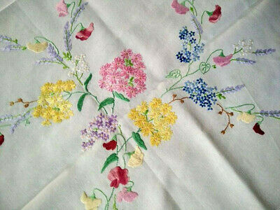 Outstanding Sweetpeas/Lavender/Lilacs+  Vintage Hand Embroidered Tablecloth
