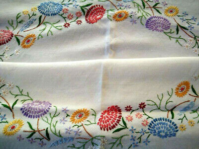 Gorgeous Mixed Flower Circle  Vintage Hand Embroidered Tablecloth