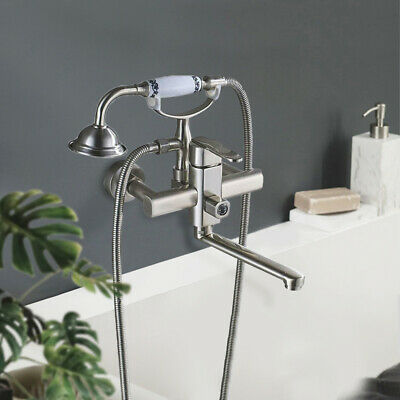 Wall Mount Brushed Nickel Bath Tub Faucet Hand Shower Sprayer Clawfoot Mixer Tap