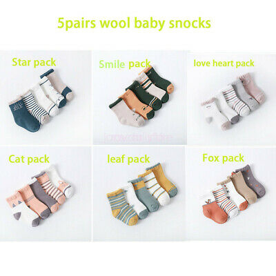 Autumn Winter Cotton Infany Kid Children Cute Boy Girl Baby Toddler Socks 5 Pair