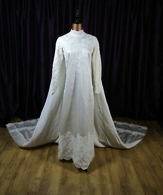 Original Vintage 50s Wedding Dress Retro Maxi Long Cape Train Quirky UK 8/10