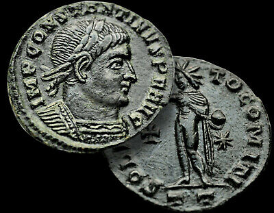 "Constantine I ""The GREAT"" Emperor 314-315 AD. SOL / X-RARE R4 Follis Bronze+COA"