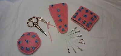 Silk Ribbon Embroidered Scissors Case with Matching Needle wallet and Pin Cushio