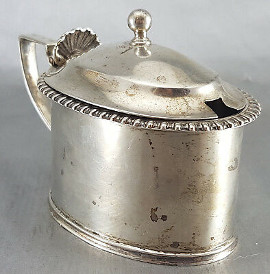 Ancien Moutardier Condiment Argent Massif Anglais Londres 1932 Sterling London
