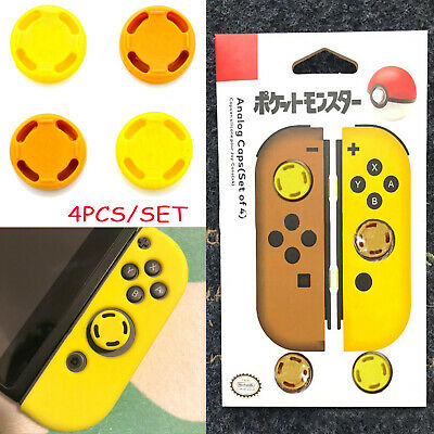 4pcs Themed Analogue Case Skin Cap Lets Go Pokemon PIKACHU Yellow for NS Joy-con