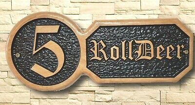 Personalised Oak Carved  Wooden Home House Number Name Sign Plaque Outdoor plate