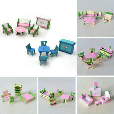 Wooden Furniture Dolls House Family Miniature Room Set Child Kids Xmas Gift Toys