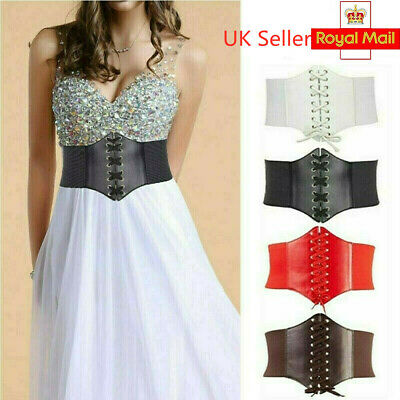Lady Waist Cincher Wide Band Elastic Tied Waspie Corset PU Leather Belt Support