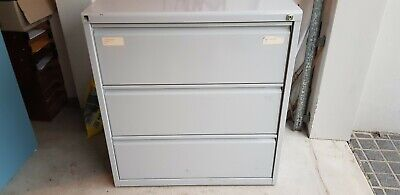 Lateral 3 drawer office filing cabinet grey metal