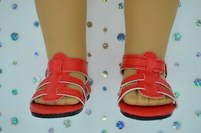 """Dolls Shoes For 17""""Baby Born~18""""American Girl RED SANDALS"""