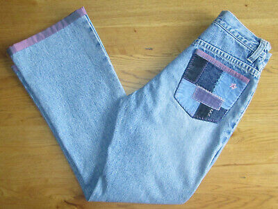 Girls 9-10-11 Years - Gap - Blue Butterfly Embroidered Patchwork Jeans Trousers