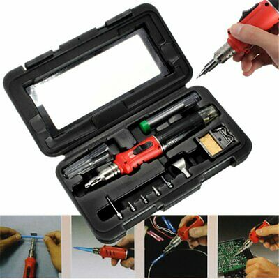 Pro Gas Soldering Iron Kit Auto Ignition Cordless Welding Torch Replacement Tips