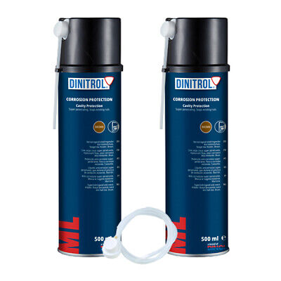 2 x DINITROL ML PENETRATOR RUST PROOFING CAVITY WAX 500ml AEROSOL + EXTENSION