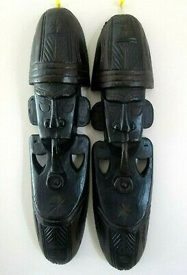 Two Large Vintage Tribal Wall Masks Approx 49Cm Long