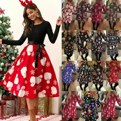 Womens Christmas Swing Dress Ladies Long Sleeve Xmas Party Skater Fancy Dresses