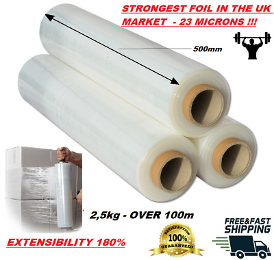 Strong Rolls Black , Clear Pallet Stretch Shrink Wrap Parcel Packing Cling Film