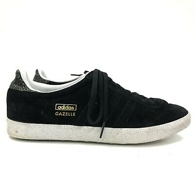 ADIDAS Black White Suede Gazelle Lace Up Low Top Mens UK 7 EU 40 TH331073