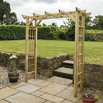 Wooden Garden Arch Archway FSC Impregnated Outdoor Patio Climbing Natural Plant