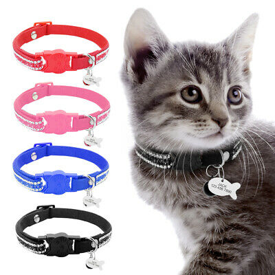 Quick Release Cat Collar Personalised ID Tags Collar Soft Suede Crystal Leather