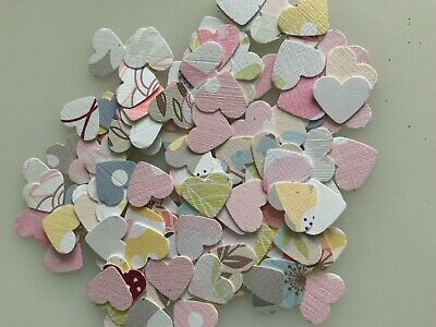 50 Upcycled Map Heart shape embellishments for card making scrapbooking crafts