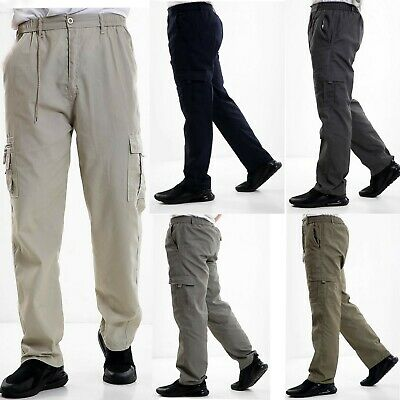 Mens Elasticated Cargo Combat lightweight Cotton Work Trousers Bottoms Pants