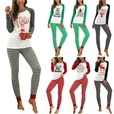 Womens Ladies Christmas Pyjamas Xmas Tops Pants Nightwear Pajamas PJs Set Gift